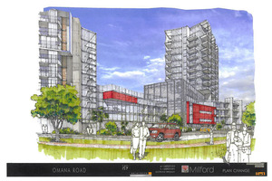 Proposed development plan of high-rise apartments at the Milford Shopping Centre under reconsideration. Photo / Supplied