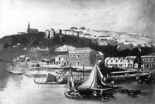 The waterfront was at Fort St when Auckland was founded. This image is from an 1852 water colour painting by Charles Heaphy.