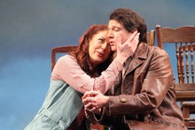 Anna Leese as Marenka, Peter Wedd as Jenik in The Bartered Bride. Photo / Supplied