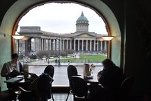 Nevsky Prospekt and the Kazan cathedral seen from the Singer Cafe above Dom Knigi bookshop. Photo / Susan Buckland