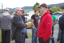 Miners congregate outside the meeting at Dunollie, near Greymouth. Photo / Greymouth Star
