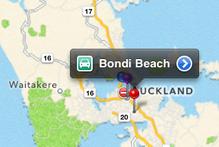 Sydney's Bondi Beach is shown to be located in the Auckland region. Photo / Juha Saarinen