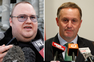 Police have been blamed for causing the illegal spying scandal when they wrongly told a Government spy agency that Kim Dotcom (left) and an associate were foreign nationals. The Prime Minister (right) has been drawn into the affair. Photo / File