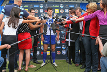 Michael Ennis is interviewed during a Canterbury Bulldogs NRL media day. Photo / Getty Images