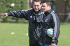 Steve Hansen talks to Dan Carter during an All Blacks training session held at St. George's College in Buenos Aires. Photo / Getty Images
