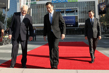 The red carpet gets rolled out at the 2012 Emmy Awards at Nokia Theatre in Los Angeles. Photo / AP