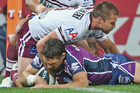Billy Slater scored a contentious try for Melbourne in the side's victory over Manly on Friday night. Photo / Getty Images