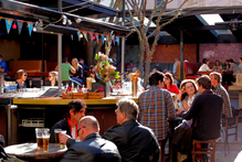 The sunny beer garden at The Southern Cross in Wellington. Photo / Supplied
