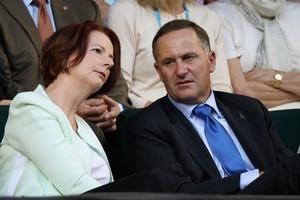 Australian PM Julia Gillard and New Zealand PM John Key. Photo / Getty Images
