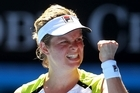 Kim Clijsters of Belgium celebrates winning her quarter final match against Caroline Wozniacki. Photo / Getty