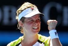 Kim Clijsters of Belgium celebrates winning her quarter final match against Caroline Wozniacki. Photo / Getty