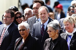 Labour leader David Shearer and Labour MP Rino Tirikatene (behind him) are received on to the marae. Photo / Mark Mitchell
