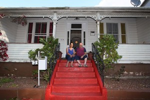 Violet Lewis' beloved red stairs at 3 Franklin Road in Ponsonby. Photo / Getty Images