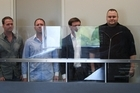 Bram van der Kolk, Finn Batato, Mathias Ortman and Kim Dotcom (also known as Kim Schmitz) in North Shore District Court. Photo / Greg Bowker