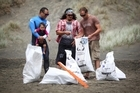 Francis Kora and Coco, Aaron Tokona and Sam Judd with some of the rubbish collected at Piha Beach. Photo / Sylvie Whinray