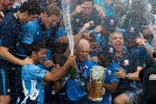 The Auckland Aces celebrate their victory over Canterbury in yesterday's T20 fi
