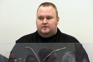 Kim Schmitz - aka Kim Dotcom - in the dock at the North Shore District Court this week. Photo / 3News