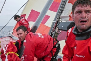 Camper crew Mike Pammenter, Daryl Wislang and Roberto Bermudez de Castro prepare for another sail change. Photo / Hamish Hooper, Volvo Ocean Race