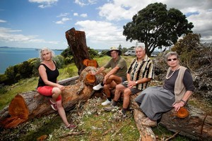 East Auckland residents (from left) Alison Dyson, Gary Muller, Bill Dalziel and Andrea Robinson are angry trees on Marine Parade in Howick have been felled. Photo / Natalie Slade