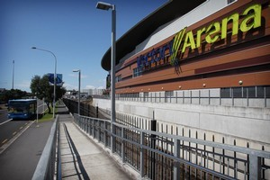 The lack of parking around the arena was intended to encourage people to use public transport. Photo / Greg Bowker
