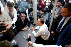 National Party leader John Key and Act Party member John Banks at the cafe in Newmarket during the cup of tea meeting that sparked the teapot tape saga. Photo / Dean Purcell.