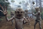 Asaro mud dancers in Goroka, Papua New Guinea. Photo / Jim Eagles