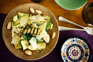 Artichoke, grilled courgette and manchego salad. Photo / Babiche Martens