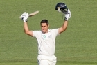 Ross Taylor celebrates his century at McLean Park, his first hundred in 17 test innings. Photo / Paul Taylor