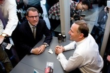 Act candidate for Epsom John Banks (Left) and Prime Minister John Key have a much-publicised cuppa before the election. Photo / APN 