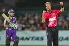 Brett Lee of the Sydney Sixers celebrates taking the wicket of Jonathan Wells. Photo / Getty Images