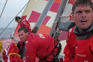 Mike Pammenter and Daryl Wislang finish up a sail change. Photo / Camper Team NZ