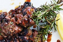Maple, mint and rosemary lamb skewers. Photo / Chris Court