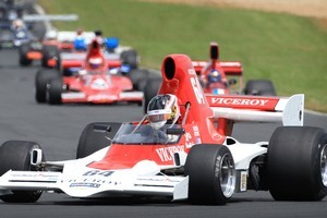 Michael Lyons made it four wins from four starts at the third round of the MSC F5000 Tasman Cup Revival Series. Photo / Greg Bowker