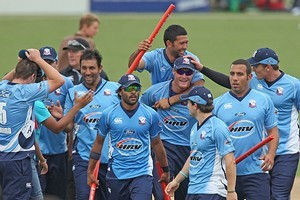 Auckland Aces celebrate winning the HRV Cup. Photo / Getty Images