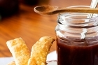 Plum sauce with feta cheese straws. Photo / Babiche Martens