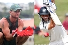 Either Kruger van Wyk or BJ Watling will stand behind the stumps against Zimbabwe. Photo / APN