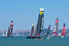 San Francisco travel story Super Sunday America's Cup AC45 racing. Racing action during the America's Cup World Series. Fleet race New Zealand Herald photograph by Alex Robertson 26 August 20