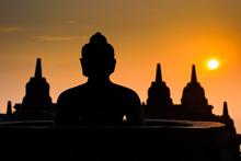 The silhouette of a Borobudur temple Buddha at sunrise. Photo / Thinkstock