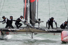 Crew members of Emirates Team New Zealand tack during qualifying on San Francisco Bay for the America's Cup World Series sailing event in San Francisco. Photo / AP
