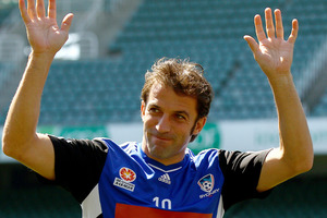 A-League's footballing circus flew into Wellington this afternoon and their main attraction - Alessandro Del Piero - didn't disappoint. Photo / Getty Images.
