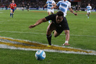 Julian Savea of the All Blacks dives over for his first try during the Rugby Championship match between Argentina and the New Zealand All Blacks at Estadio Ciudad de La Plata. Photo / Getty Images.