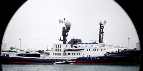 The Arctic P, Australian tycoon James Packer's superyacht, is moored in the Wynyard Quarter in Auckland. Photo / Greg Bowker
