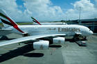 A second Emirates A380 superjumbo began flying out of Auckland International Airport yesterday. Photo / Dean Purcell