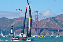 Oracle Team USA puts on a show as spectators enjoy the event. Photo / Alex Robertson
