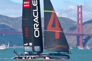 Oracle repaired USA-17 using foils fashioned from the mammoth 27m trimaran in which they won the America's Cup in 2010. Photo / Alex Robertson
