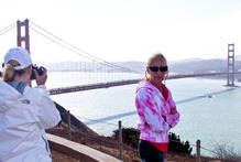 Tourists get a perfect shot of the Golden Gate Bridge at the entrance to the San Francisco Bay. Photo / Alex Robertson