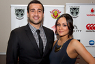 Ben Matulino arrives at the Warriors Awards dinner last night with his partner Courtney. Photo / Brett Phibbs