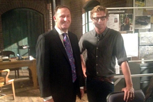 John Key with The Mentalist's Simon Baker in Hollywood. Photo / Supplied/Facebook