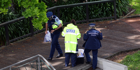 Crime scene at Myers Park Auckland today. Photo / Herald on Sunday / Doug Sherring