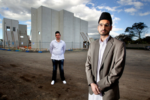 Shafiq Ur Rehman, cleric Shafiq Ur Rehman and Christopher Bradley (rear).  Photo / Steven McNicholl